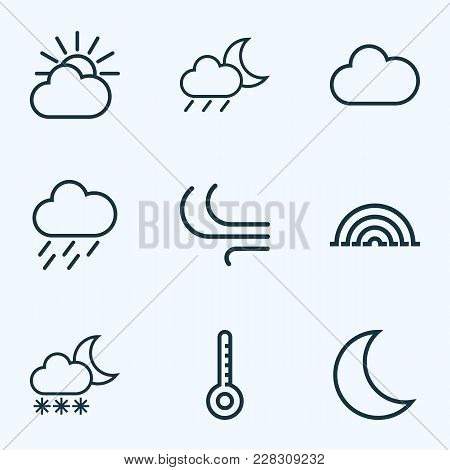 Weather Icons Line Style Set With Wind, Nigth, Arc And Other Temperature Elements. Isolated  Illustr