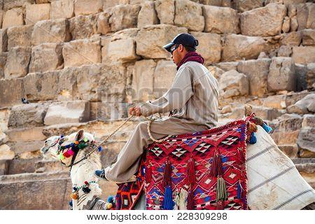 Hurghada, Egypt- February 22, 2010: Unidentified Camel Rider Sitting On Back Of Camel In Hurghada, E