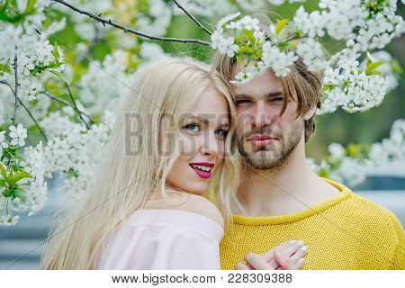 Love And Romance, Relationship, Happy Couple. Man And Woman In Spring, Easter. Couple In Love In Blo