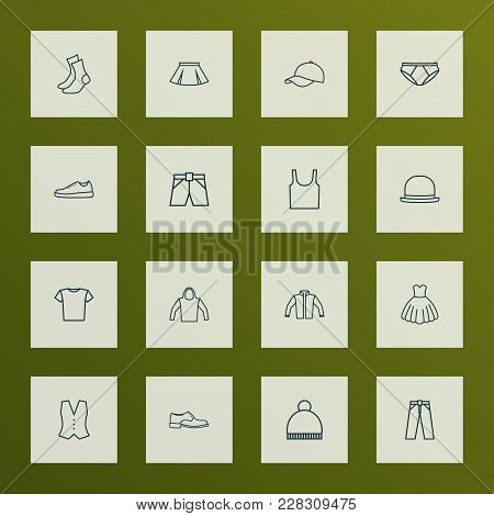 Clothes Icons Line Style Set With Panama, Underwear, T-shirt And Other Cardigan Elements. Isolated