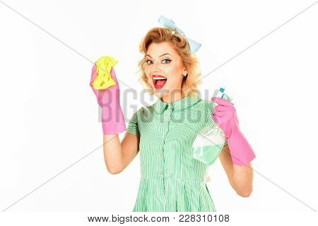 Retro Woman Cleaner On Pink Background.