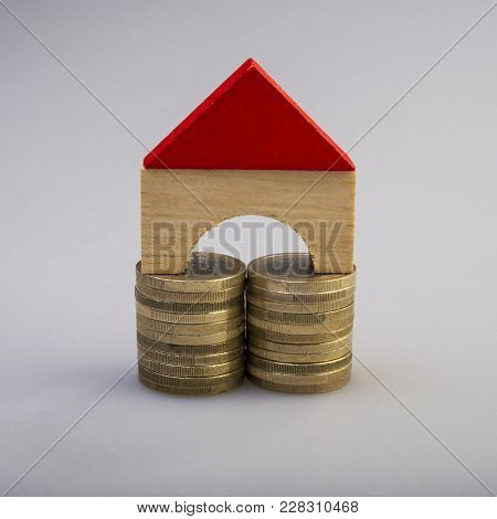 Euro Coins And House.  Euro Money. Currency Of The European Union.
