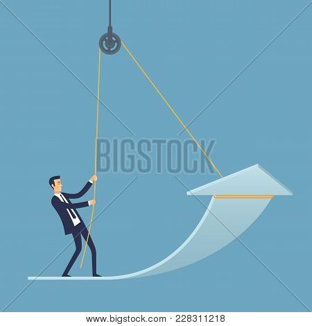 Business Success Vector Illustration. Businessman Trying To Achieve Success.