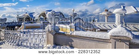Sochi, Russia - January 26, 2016: Beach Architecture In The Snow.