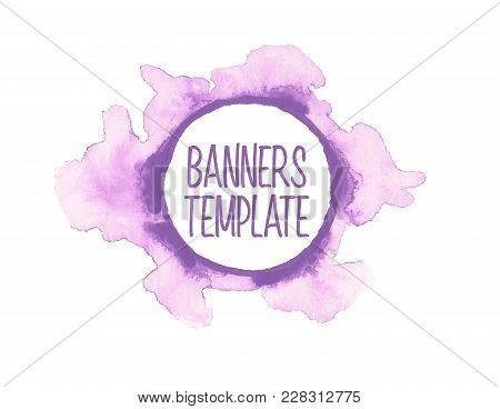 Vector Illustration. Watercolor Painted Circle Shape Design Elements. Web Banner Design Template