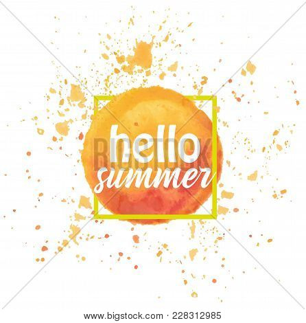 Watercolor Sun Isolated On White Background. Vector Illustration. Hello Summer