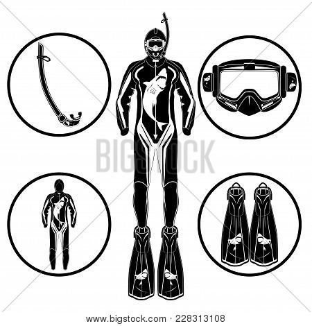 Diver In Diving Suit, Flippers, Mask, Snorkel Icon Set. Diving Equipment Black Templates On White Ba
