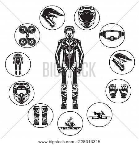 Vector Illustration Of Motorcycle Hoverbike Rider In Riding Suit And Protective Gear. Hovering Motor