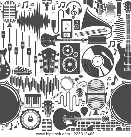 Vector Music Icons Seamless Pattern Or Background