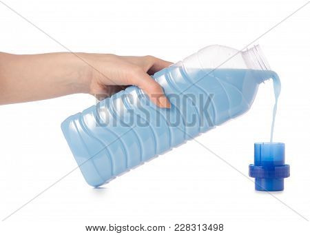 Softener Conditioner In Blue Plastic Bottle In Hand  Isolated On White Background. Bottle With Liqui