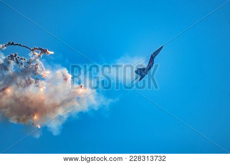 Rostov-on-don, Russia - August, 2017: Russian Strike Fighter Sukhoi Su-30sm From Russian Knights Tea