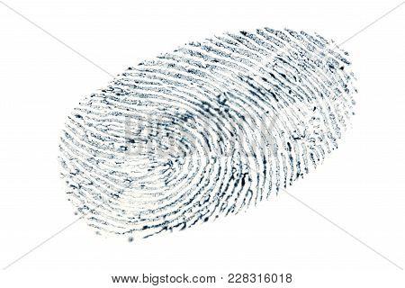 Black Fingerprint Pattern Isolated On White Background.