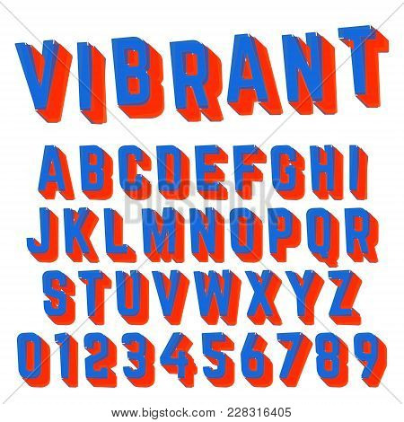 Alphabet Font Template. Set Of Letters And Numbers Vibrant Design. Vector Illustration.