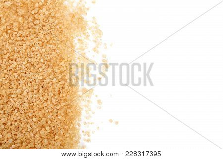 Brown Sugar Isolated On White Background With Copy Space For Your Text. Top View. Flat Lay.