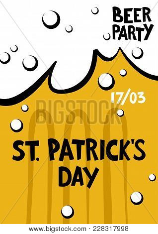 St. Patrick's Day Greeting. Lettering St. Patrick's Day In The Form Of A Beer Mug. Handwritten Patri