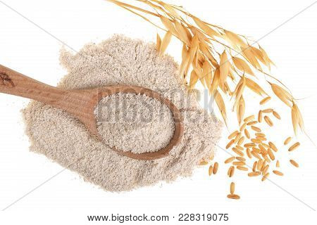 Oat Spike With Flour In Wooden Spoon Isolated On White Background. Top View. Flat Lay.
