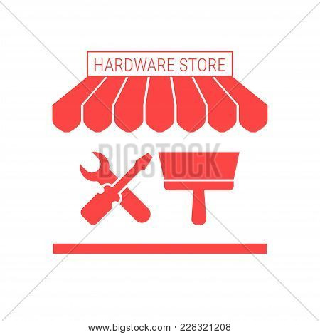 Hardware Store Single Flat Icon. Striped Awning And Signboard. A Series Of Shop Icons. Vector Illust