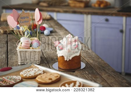 Delicious Easter Bakery Standing On The Table In The Cuisine. Focus On Eggs And Sweet Bread. Copy Sp