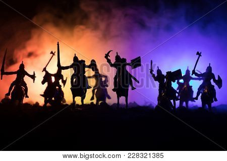 Medieval Battle Scene With Cavalry And Infantry. Silhouettes Of Figures As Separate Objects, Fight B