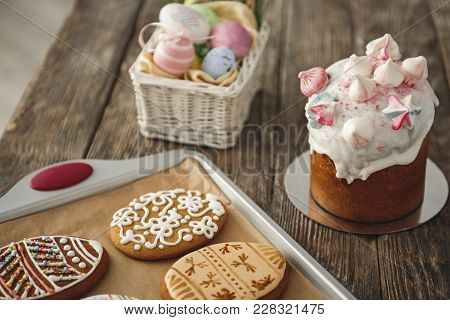 Holiday Tradition Concept. Close Up Of Easter Food On The Wooden Table