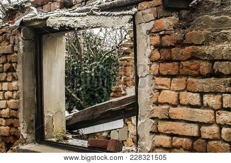 Grunge Window Frame Of Poor Abandoned Dirty Demolished House Closeup