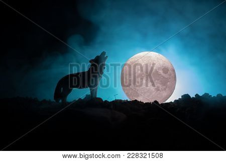 Silhouette Of Howling Wolf Against Dark Toned Foggy Background And Full Moon Or Wolf In Silhouette H