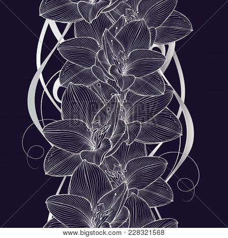 Silver Seamless Hand-drawing Floral Background With Flower Amaryllis. Illustration.