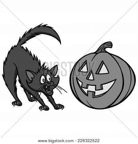 Halloween Cat Illustration - A Vector Cartoon Illustration Of A Halloween Cat And Pumpkin.