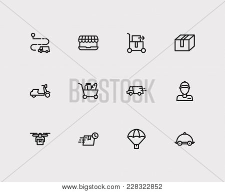 Set Of 12 Shipment Icons Line Style Set With Lorry Delivery Truck, Delivery Truck Route And Courier