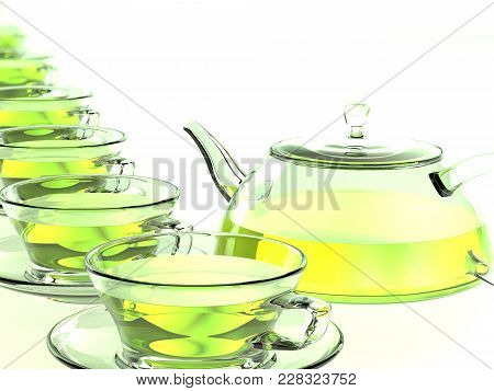 Cups And A Teapot. 3d Rendering. Transparent Cups With Green Tea On Transparent Saucers Stand In A R