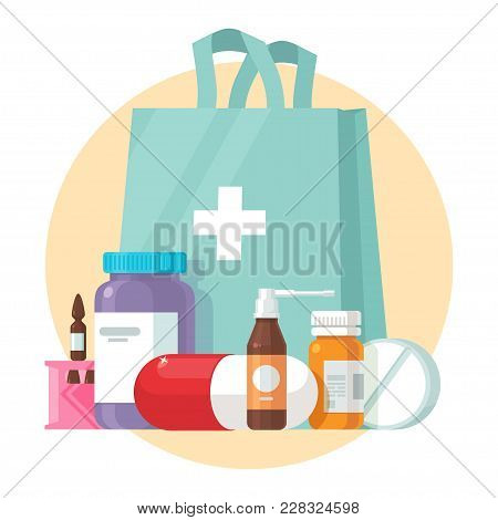 Medical Supplies, Bottles Liquids, And Pills Vector Cartoon Illustration. Pharmacy Purchases. Drugst