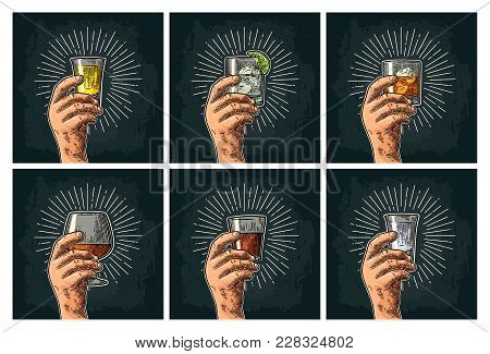 Male Hand Holding Glass With Brandy, Tequila, Gin, Vodka, Rum, Whiskey. Vintage Vector Color Engravi