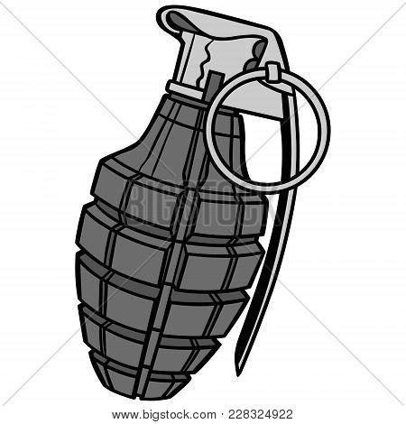 Hand Grenade Illustration - A Vector Cartoon Illustration Of A Military Hand Grenade.
