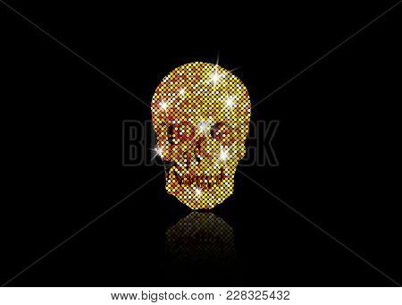 Shiny Skull Of Gold Glittering Stars . Golden Element Collection. Day Of The Dead. Icon Symbol Fashi