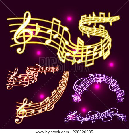 Notes Vector Music Neon Melody Colorfull Musician Symbols Sound Melody Text Writting Audio Symphony.