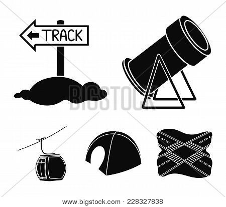 Funicular, Tent, Road Sign, Snow Cannon. Ski Resort Set Collection Icons In Black Style Vector Symbo