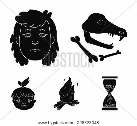 Woman, Hair, Face, Bonfire .stone Age Set Collection Icons In Black Style Vector Symbol Stock Illust