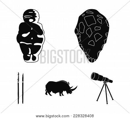 Primitive, Woman, Man, Cattle .stone Age Set Collection Icons In Black Style Vector Symbol Stock Ill