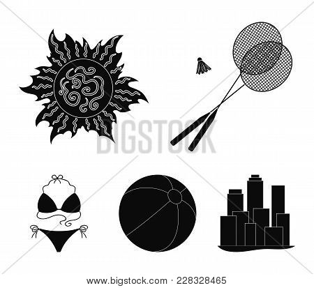 A Game Of Badminton, A Ball And The Sun.summer Vacation Set Collection Icons In Black Style Vector S