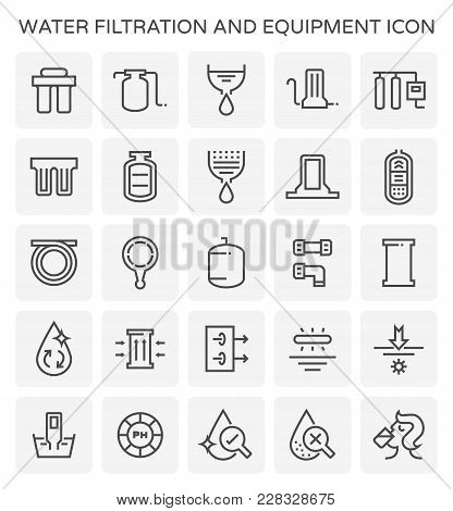 Water Filtration And Equipment Icon Set On White.