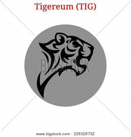 Vector Tigereum  (tig) Digital Cryptocurrency Logo. Tigereum  (tig) Icon. Vector Illustration Isolat