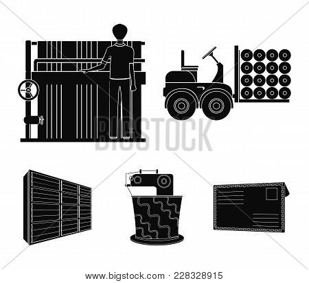 Equipment, Machine, Forklift And Other  Icon In Black Style.textiles, Industry, Tissue, Icons In Set