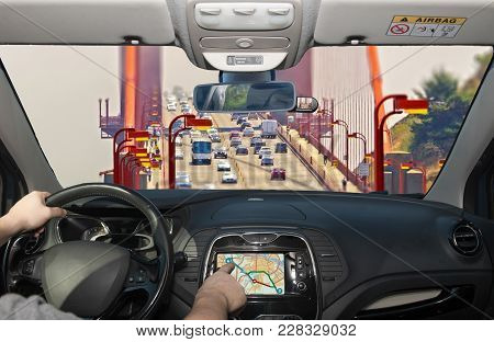 Driving Using Navigation System, Golden Gate Bridge, San Francisco, Usa