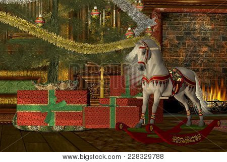 Christmas Rocking Horse3d Illustration -  A Rocking Horse Awaits Its New Rider On Christmas Morning