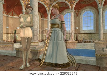 Greek Bath 3d Illustration - A Greek Mother Talks With Her Very Tall Daughter About Everyday Things