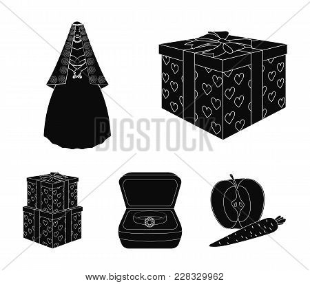 A Box With A Gift For A Wedding, A Bride In A Veil And A Dress, A Ring In A Diamond Engagement Ring