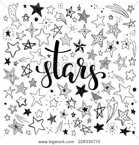 Big Set Of Hand Drawn Doodle Stars Black And White Isolated On Background. Hand Drawn Calligraphy St