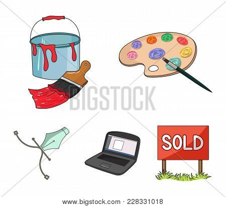 A Palette With A Brush, A Bucket With A Paint Brush, A Computer, A Tool, A Pen.artist And Drawing Se