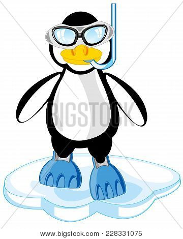 Penguin In Flipper And Mask Cost Stand On Block Of Ice