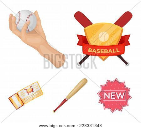 Club Emblem, Bat, Ball In Hand, Ticket To Match. Baseball Set Collection Icons In Cartoon Style Vect